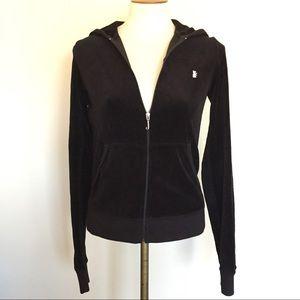 Juicy Couture Black Velour Zipper Hoodie Sz Large